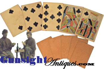 original Civil War vintage poker hand of - Samuel Hart & Co. PLAYING CARDS (Image1)