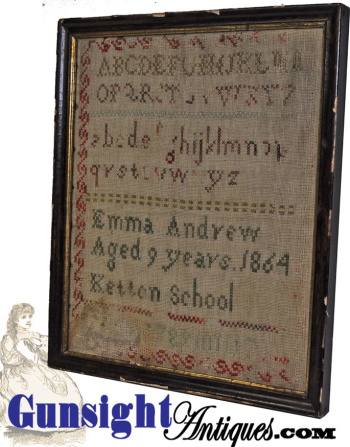 1864 Dated - Schoolgirl Sampler