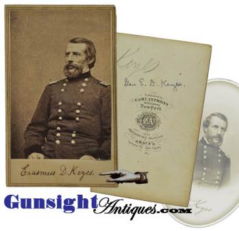 Inscribed ! - Civil War CDV photograph – Mjr. Gen. Erasmus D. Keyes (Image1)
