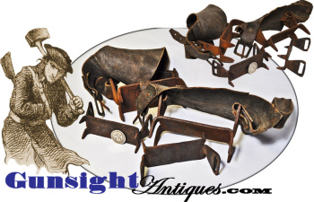 1700s early through mid 1800s HANDWROUGHT  ICE CREEPERS – original leathers! (Image1)