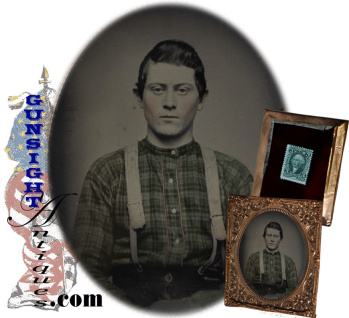 Civil War dated 6th plate:  TINTED AMBROTYPE PORTRAIT    (Image1)
