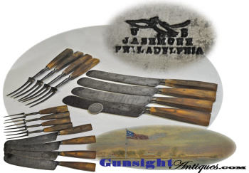 pre-Civil War 4 place setting - knife & fork CUTLERY SET by U. S. MILITARY SUPPLIER - J. ASHMORE PHI (Image1)