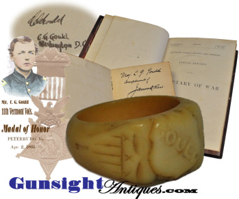Civil War Personalized Bone Ring Of Medal Of Honor Recipient Mjr. Charles Gould - 5th & 11th Vermont