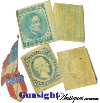 2 uncirculated Civil War Confederate – POSTAGE STAMPS (Image1)