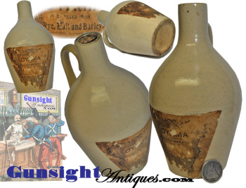 Scarce - Period Pint Size Rye Whiskey Jug With Label