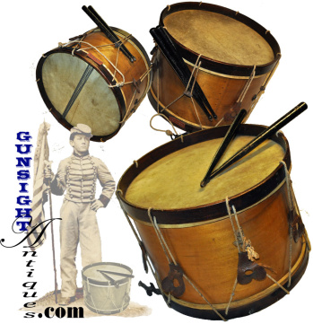 extra nice original 'Boys' – Civil War pattern SNARE DRUM & STICKS (Image1)