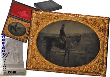 Maine - mounted Union Cavalryman - ¼ plate Tintype (Image1)