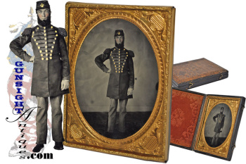 Civil War vintage Bandsman / DRUM MAJOR - ¼ plate 'Ruby Glass' AMBROTYPE  (Image1)