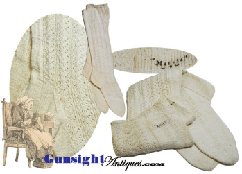Civil War vintage Fancy Knit COTTON SOCKS (Image1)