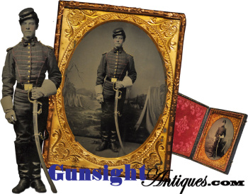 exceptional condition! ¼ plate Civil War Mounted Artillery BUGLER TINTYPE (Image1)