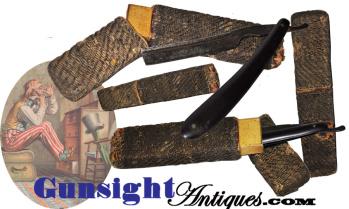 mid-19th century baleen STRAIGHT RAZOR  & MACRAME CASE  (Image1)