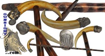 Antique Boars Tusk – WALKING STICK - 2nd Ohio Cavalry – Civil War Veteran  (Image1)