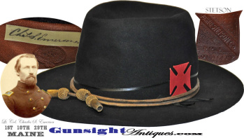 Civil War Veteran - Stetson  SLOUCH HAT of -  Lt. Col. Charles S. Emerson – 1st / 10th / 29th Maine (Image1)