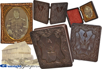 Civil War vintage 9th plate Gutta Percha   PATRIOTIC PHOTO CASE (Image1)