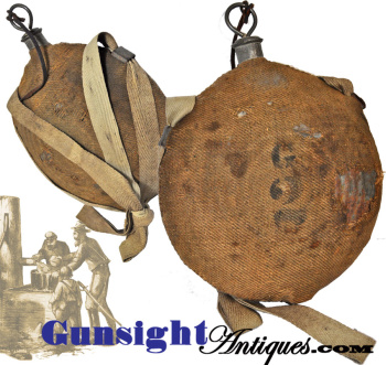 early Civil War  Mod. 1858 'BULLSEYE' Canteen – Maine estate! Co. G 2nd Infantry (Image1)