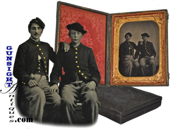 Civil War 'Brothers in arms' - ¼ plate TINTYPE (Image1)
