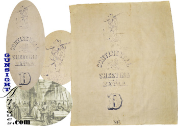 mid19th century textile mill marked:  CONTINENTAL SHEETING REMNANT  (Image1)