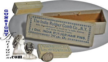 mid 1800s – India Rubber Comb Co. – Ladies HAIR PIN BOX (Image1)