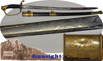 Civil War - Maine Presentation Mod. 1850 Foot Officer Sword – Port Hudson siege &  assault   (Image1)