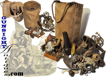mid-19th century Sail Maker's Ditty Bag with ORIGINAL CONTENT (Image1)