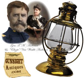 Mrs. (General) T. M. Anderson inscribed presentation grade - Railroad Lantern (Image1)