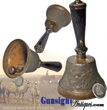 Patriotic DESK BELL from period repurposed pre Civil War - US Army Camel Corps bell (Image1)