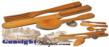antique - carved Knife, Fork & Spoon WHIMSEY (Image1)