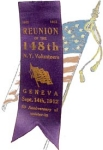 Click here to enlarge image and see more about item 1050: 148th N. Y. Civil War VETERAN ASSOCIATION -  REUNION RIBBON