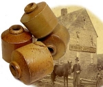 Click here to enlarge image and see more about item 1169: Civil War era POTTERY INKWELL