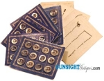 Civil War era BUTTON CARDS WITH ORIGINAL SHELL BUTTONS