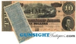 Click here to enlarge image and see more about item 2877: Civil War CONFEDERATE $10.00 BILL