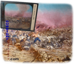 Click here to enlarge image and see more about item 2992: hand tinted Civil War Gettysburg -  GLASS LANTERN SLIDE