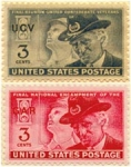 Click here to enlarge image and see more about item 314: 1949 & 1951  CIVIL WAR vet's UCV & GAR POSTAGE STAMPS