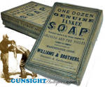Click here to enlarge image and see more about item 3728: Civil War era  YANKEE SHAVING SOAP BOX