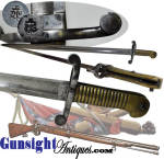 Click here to enlarge image and see more about item 4120: Civil War era Tower Short Sea Service Rifle  – SWORD BAYONET