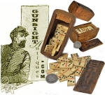 Click here to enlarge image and see more about item 4185: antique hand cut GAME BOX & DOMINO SET