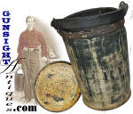 Click here to enlarge image and see more about item 4246: D. HAYWARD�S PAT. 1854 � RUBBER FIRE BUCKET
