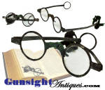 A wonderful example of the 1700s common man�s reading spectacles, this pair is offered complete and original, even to the remains of period ribbon.  Just as they came out from decades of attic storage!  Crudely made of common black iron in the classic style of the colonial 1700s these spectacles will display nicely laid out on any period book, map or chart.   Another one of those common to the period items of everyday life that seldom survived to reach the modern day historian.  <B>ALL ITEMS ARE CURRENT & AVAILABLE UNLESS MARKED SOLD!!</B>  Thanks for visiting our catalog!!  Thanks for visiting Gunsight Antiques !