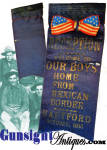 A rare find is this 5.5 X 2.5 inch dark blue silk ribbon that reads: <B>- RECEPTION - WELCOME TO OUR BOYS HOME FROM MEXICAN BORDER � HARTFORD � October 1916 </B> Showing age and with dark but clearly legible lettering, all as evidence of originality, this scarce reception ribbon is a relic of U. S. action along the Mexican border remembered as the <I>Mexican Border War</I> or <I>Bandit War</I> when Mexican revolutionary <B>Poncho Villa</B>attacked the U. S. garrison at Columbus, New Mexico.  The 2nd Connecticut Infantry were among the National Guard troops called to action against Pancho Villa�a revolutionary band. The 2nd Connecticut mustered out of Federal service in November 1916, only to be mobilized again in February 1917.for service in WW 1. <B>Don't forget to give our search feature a try</B> for special wants. A simple <U>key word</U> in lower case works best. Thanks for visiting Gunsight Antiques!