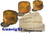A neat little item for the lighting collector, this &quot;IMPROVED WAX NIGHT LIGHT&quot; retains its original paper label boasting a PATENT WICK SUSTAINER  which is said to  enable this little traveling size candle to <I>give steady light and BURN EIGHT HOURS</I>.   T. W. Houchin is given as the patentee with Houchin Mfg. Co., New York the maker.  An attractive little personal item for the lighting device collector and a neat night light for medical surroundings. (illustrated here with a U.S. quarter for size comparison)  Another one of those period items of every day 19th century life that seldom survived to reach the modern day historian. Thanks for visiting Gunsight Antiques!