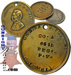 Offered here for the first time since we acquired it years ago in a lot of old coins, is this classic <I>MAJOR GENERAL  G. B. Mc CLELLAN  - WAR OF 1861</I> Civil War identification disk marked <B> CHESTER  S. FURMAN � COLUMBIA � CO.A  35TH REGt. P.V. </B>    (Note that on the original, the B in COLUMBIA is inversed as is the t in 35th .  We have seen such inversions on these disks before, frequently in combination with some misalignment of individual letters.   Our speculation is that such characteristics are attributed to disks acquired from camp sutlers who struck the identification with individual letter dies rather than utilizing die guides available to mail order or established vendor sources. )  A quick <I>Google</I> of <I>Chester S. Furman</I> will offer much more information on Corp. Furman than provided here but suffice it to say that our man enlisted and was mustered in on July 13, 1861 as a Corporal  of Co. A (recruited in Columbia, PA) of the 35th Pennsylvania Infantry (a.k.a. 6th Penn. Reserves).  He transferred out of the 35th Vols. On October 28, 1863 and was mustered into the <B>US Army Signal Corps</B> .  He was awarded the Congressional Medal of Honor  for action on July 2, 1863 at the battle of Gettysburg where he was<B><I> one of six volunteers who charged upon a log house near Devil�s Den.</B></I>  (see: <I>Deeds of Valor</I> p.244) 