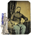 Click here to enlarge image and see more about item 4300: extra nice !  Maine Civil War Infantry Tintype