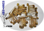 Click here to enlarge image and see more about item 4303: Vintage Brass Plated SAFETY PINS