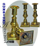 Click to view larger image of matching pair earlier through mid 1800s  Brass PUSH UP CANDLESTICKS (Image1)