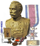 This outstanding grouping of <I>Mjr. General Henry Francis Clarke</I>, (won his Brig. General star for <U>gallantry at the battle of Gettysburg</U>), includes a plaster bust of Clarke by noted sculptor <B>Leonard W. Volk</B>,best known for his earlier work with Abraham Lincoln.  The 12 inch high painted plaster bust is inscribed <I>Genl. H. F. Clark U. S. A.</I> on the front and <I>L. W. Volk 1889</I> on the back.  The bust depicts Clarke in uniform wearing his <B>Military Order of the Loyal Legion of the United States</B> medal.  Included in this grouping is General Clarke�s<U>personal issue</U> gold <B>Loyal Legion Medal</B> <I>#733</I>. ( see published MOLLUS roster with inscribed medal numbers: <I>UNION BLUE</I> by Robert G. Carroon and Dana B. Shoaf)  The group also includes two <B>Loyal Legion lapel rosettes</B>, his <B>Grand Army of the Republic membership medal</B>,complete with its original well worn and tattered suspension ribbon.  With the group a  GAR, 1902 Washington <B>National Encampment medal</B> and Clarke�s jeweler made <B>monogram cuff buttons</B>(<I>HFC</I>).  These were fashioned from 1854 and 1855 US silver quarters, nicely handengraved with blue enamel highlights.  Last but not the least is a personally inscribed  carte de viste of Clarke from the  Matthew Brady, Washington studio  .  The CDV remains in excellent condition and is signed on the verso <I>Yours truly H F Clarke</I>.    As to provenance, all of the preceeding General Henry Francis Clarke artifacts, with the <U>exception of the signed Clarke photograph</U>, came to us as a group when offered as such by an established New England auction house.  In our own research we found sale of Clarke material, to include a camp chair offered by Cowans, leading back to the family and a sale of the estate of the General�s Great Granddaughter Mary Clark..  While the time and location of that sale will take some additional research.  The Volk bust of Clarke had been offered by the Heritage auction house in Texas with the attributation of the Clarke family via the Tharpe collection of American Military History, exhibited by the Liberty Heritage Society Museum.   General Clarke�s MOLLUS medal will speak for itself with its recorded and inscribed issue number as will the silver cuff buttons which offer the the General�s <I>HFC</I> monograhm.  We added the signed CDV to the grouping when we had the opertunity.   