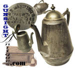 Click here to enlarge image and see more about item 4367: E. B. MANNING'S PAT 1862 – TIN & PEWTER POT