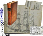 An original c.1843 publication titled <B>MERCHANT�S & SHIPMASTER�S GUIDE</B><I>in relation to their Rights, Duties, & Liabilities</I> authored by Frederic W. Sawyer, 3rd edition, published in Boston by S. Thaxter & Son in 1843.  The original calfskin binding is tight with good evidence of age and period use yet remaining in pleasing condition.  The books 400 pages are complete tight and without condition issues save natural age with some foxing. (The name <I>C. K. Peeling</I> is penned on the inside cover.)  A striking sailing vessel fold out remains.  All complete with no rips, tears, folds or repairs, this 7 11/16 X 5 inch seaman manual offers reference on such material as: Ship Registry & Name, necessary Documents; Foreign & Domestic Trade regulations, Ship Owner liability, Ship Master authority, Ship Seaman- domestic & foreign laws, provisions & water, medical advice, wages, duty in case of disaster; High Sea Crimes, piracy, Insurance, Harbor Regulations, Port Laws, Marine Hospitals, Shares, Legal Forms and more.  A nice addition to any nautical antique grouping. <B>Buy with confidence! </B><I>  We are pleased to offer a <B><U>no questions asked</U> three day inspection with return as purchased on direct sales!</B> <I>Just send us a courtesy  e-mail to let us know your item will be returned per these provisions and your purchase price will be refunded accordingly.</I>  Thanks for visiting Gunsight Antiques !  <CENTER><FONT COLOR=#800000>If you have an interest in neat Civil War period things or Maine in the time, you may enjoy our museum site at:</FONT COLOR=#800000></CENTER> <CENTER><B><I>MaineLegacy.com</I></B></CENTER>