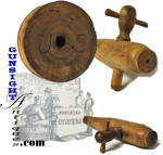 This US marked keg spigot is of turned maple with a natural cork insert to insure a leak proof fit.   The spigot measures approximately 11 1/8 inches in length and though it offers good evidence of age and period originality appears never to have been used.  Appropriate for use or display with any number of period barrel, hogshead, or keg applications, the cork insert is generally considered most appropriate to use with beer, wine and spirits barrels and kegs.  A neat display item to lay in with Civil War vintage sutler, country store or military quartermaster items. <B>Don't forget to give our search feature a try</B> for special wants. A simple <B>key word</B> in lower case works best.  Thanks for visiting Gunsight Antiques!