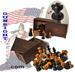 This attractive early turned and hand cut rock maple chess set is complete and in nice condition untouched and as found with good evidence of age and originality.  The set remains housed in a wonderful 5 � x 2 7/16 x 2 1/4 inch, beveled corner slide top box.   A desirable offering to suit a wide variety of collector interest to include antique games and Civil War personal items.  Note: After we acquired this we found one of the game pieced had a small chip (see photo).  Accordingly we have priced the set to move it along.  A nice set all the same. As with <U>all direct sales</U>, we are pleased to offer a <B><U>no questions asked</U> three day inspection with refund of the purchase price upon return as purchased!</B> Thanks for visiting Gunsight Antiques!