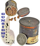 This little percussion cap tin measures approximately 1 5/8 inches in height and is about 1 5/8 inches in diameter. It remains in nice condition with natural age and most of its original lacquer japanning finish. Best of all is the fact that the tin contains a good complement (approximately a 3rd full) of its original percussion revolver sized percussion caps. A once common item this tin is surely a rare commodity today and will fit especially well in any Civil War era grouping of  A special find that will be difficult to duplicate!  <B>Buy with confidence! </B><I>  We are pleased to offer a <B><U>no questions asked</U> three day inspection with return as purchased on direct sales!</B> <I>Just send us a courtesy  e-mail to let us know your item will be returned per these provisions and your purchase price will be refunded accordingly.</I>  Thanks for visiting Gunsight Antiques!